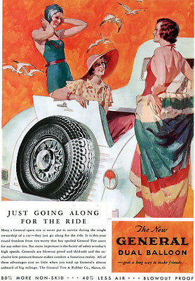 General Tire Beach Scene Flappers DUAL BALLOON TIRES Bathing Suits 1933 Print Ad
