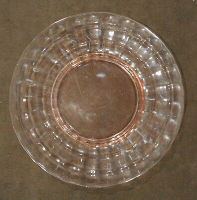 "Vintage Pin Depression Glass Block Optic 10"" Dinner Plate - Anchor Hocking"