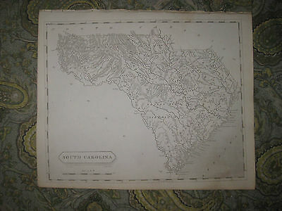 Antique 1805 South Carolina Copperplate Arrowsmith And Lewis Map Charleston Fine