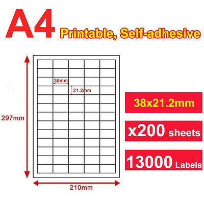 200 x A4 Sticker Paper Mailing Address Laser Inkjet 38x21mm 65 Labels per page