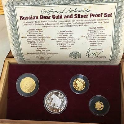 ***rare***1993 Russia Bear Gold & Silver Proof Set 3-25-50-100 Roubles Limited