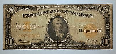 1922 Large Size $10 Ten Gold Certificate FREE SHIPPING C605 CHT