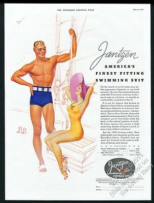 1936 George Petty pinup girl and man art Jantzen swimsuit vintage print ad