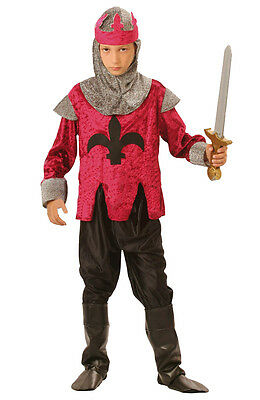 Boys Medieval Knight Costume Fancy Dress Kids Tudor King Outfit NEW Age 4-6-9