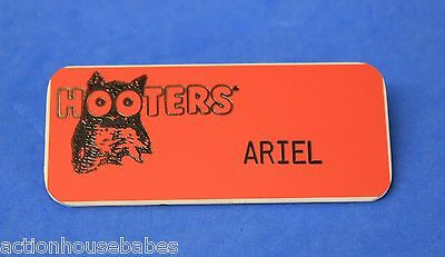HOOTERS RESTAURANT GIRL ARIEL ORANGE NAME TAG -  Waitress Pin