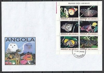 """"""" Angola, 2000 issue. Butterflies on a sheet of 6 on a First day cover."""