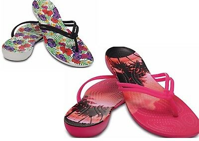 15f80cf709f55f Women s CROCS Isabella Flip Flops Thongs Sandals Black Floral   Pink  Tropical