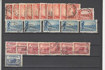 Australia #142/148 Used, 24 Stamps-Different View & Multiple Scv $100.00