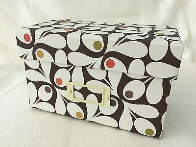 Orla Kiely Recipe Box with Cards New Unused - Acorn Cup Brown Pattern