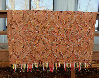 ANTIQUE / VINTAGE WOOL JACQUARD PAISLEY SHAWL - BEAUTIFUL and PERFECT