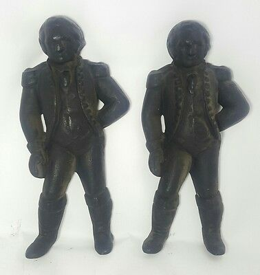 Pair of GEORGE WASHINGTON ANDIRONS w/ REMOVABLE FIREDOGS Antique Fireplace Cast
