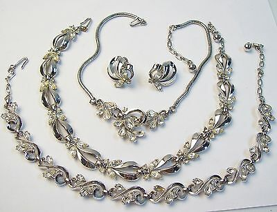 4 Pcs Vintage TRIFARI Silvertone & Teardrop Rhinestone Necklaces & Earrings