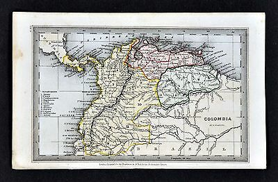 1834 Starling Map - Colombia Venezuela Guiana Caracas New Granada South America