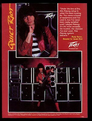 1984 Quiet Riot Rudy Sarzo photo Peavey bass guitar & amp vintage print ad