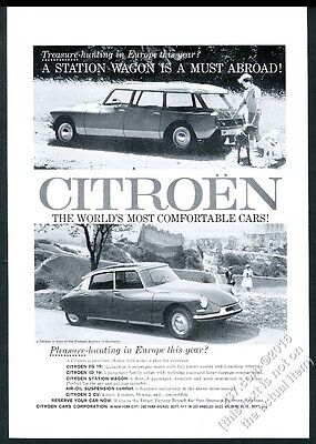 1960 Citroen DS 19 and station wagon photo vintage print ad