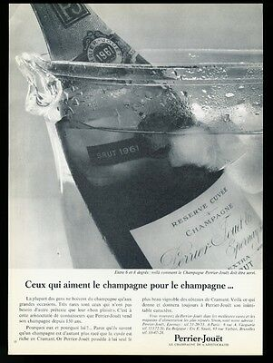 1966 Perrier-Jouet Champagne brut 1961 bottle photo vintage print ad