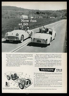 1959 Triumph TR-3 TR3 2 car photo and diagram New Fun at 50 vintage print ad