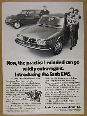1973 Saab EMS Sedan car photo vintage print Ad