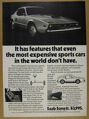1973 Saab SONETT sports car photo vintage print Ad