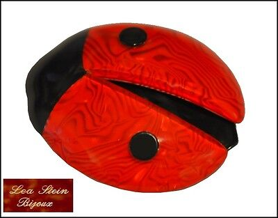 French Signed Lea Stein Paris Resin Ladybug Ladybird Brooch Pin