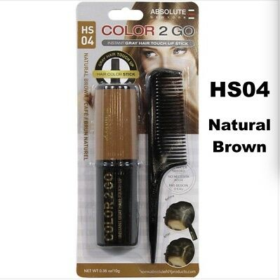Absolute New York Color 2 Go Instant Gray Hair Touch Up Stick Hs04 Natural Brown
