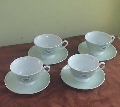 "4 Laura Ashley Home ""butterfly"" Green Spotty Cups & Saucers"