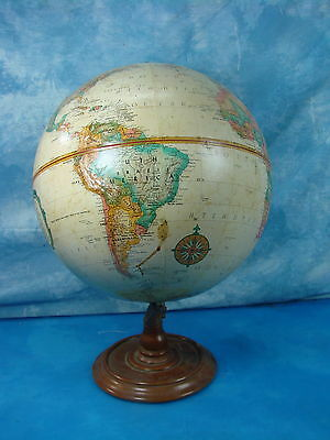 Vintage 12 Inch Spinning Raised World Tilted Globe on Stand