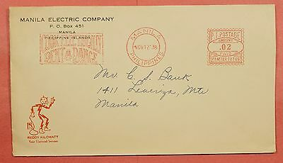 Philippines Cover 1938 Meter Cancel Rent A Range Electric Co Advertising Manila