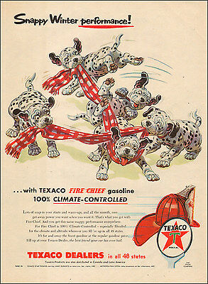 1950s vintage AD for TEXACO Fire Chief Art Dalmatian puppies playing 043017