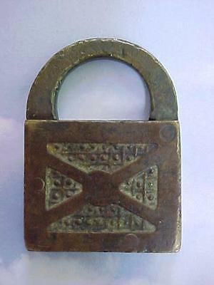 Rare Very Old Antique Brass Hand Made Padlock No Key