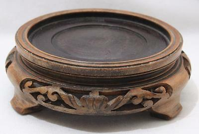 Antique Hardwood Carved Wooden Oriental Small Stand for Vase etc