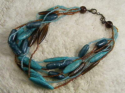 Autumn Turquoise-Blue & Brown Etched Leaf Acrylic Bead Necklace (A43)