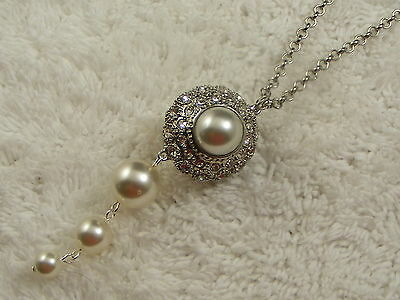 Silvertone Round Double Sided Rhinestone White Bead Pendant Necklace (D51)