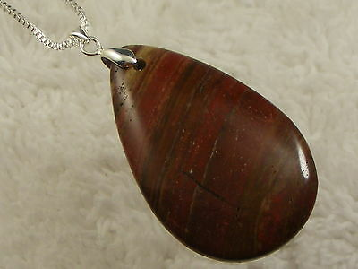 Sterling Silver Box Chain Large Red Rainbow Jasper Stone Pendant Necklace (D20)