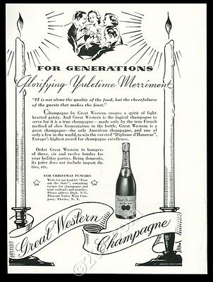 1935 Great Western Champagne bottle photo Christmas theme vintage print ad