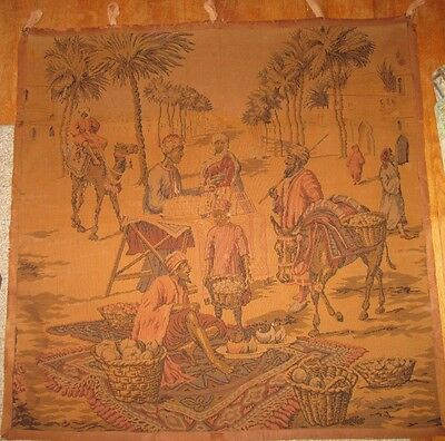 1900s tapestry of Egyptian marketplace in great shape!