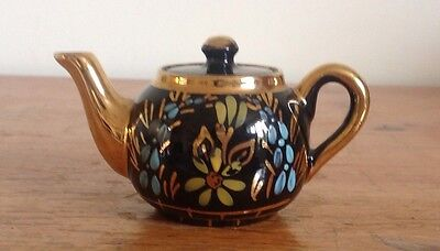 Pretty Black And Gold Gilt Miniature Teapot - Height 5cm