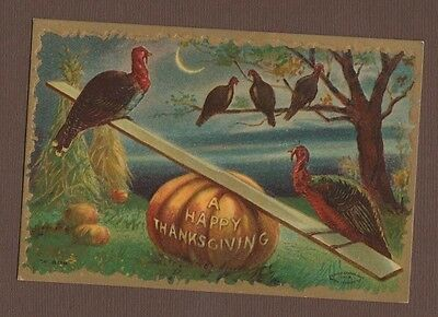 1909 Moon Embossed Postcard Happy Thanksgiving Wild Turkey Seesaw Plant Night
