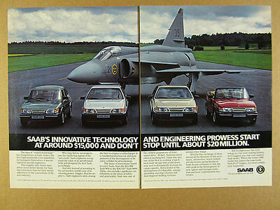 1988 Saab 900 9000 Turbo Convertible & JA-37 Viggen photo vintage print Ad