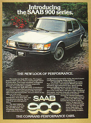1979 Saab 900 Series 'Introducing' turbo blue car photo vintage print Ad