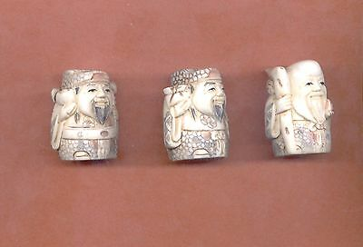 Three Fortune Gods Stunning Vintage Hand Carved  1.5 In  Netsuke Set Of 3 745