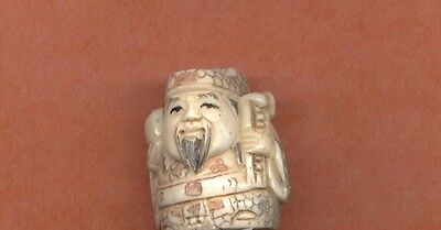 Fortune God With Gold Ingot Stunning  Hand Carved  Netsuke 826