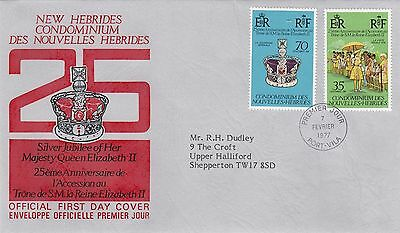 (01263) New Hebrides FDC Queen Silver Jubilee 7 February 1977