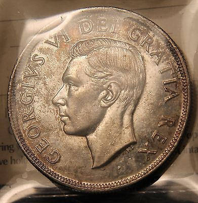 1948 Canada Silver Dollar ICCS AU-55. Rarest key date coin. Old 2 letter cert.