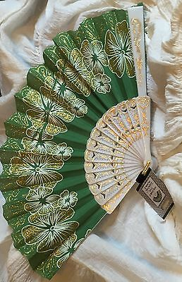 Green-White-Folding Sequin Geisha-Oriental-Asian Fabric Fan Costume Accessory