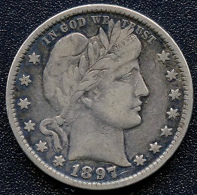 1897 United States Barber Quarter Dollar Coin (6.25 Grams .900 Silver)