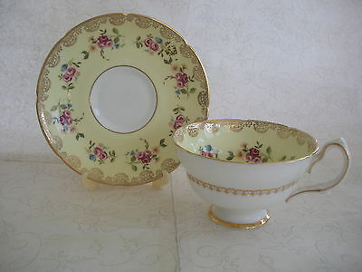 Royal Grafton  Bone China Teacup & Saucer Yellow With Red Roses  Gold Trim