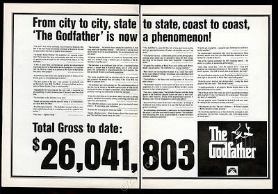 1972 The Godfather movie print many reviews vintage trade print ad