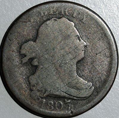 1807 Draped Bust Half Cent About Good (AG) Details Surface Damage