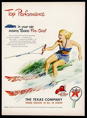 1948 waterskiing woman color art Texaco oil gas vintage print ad